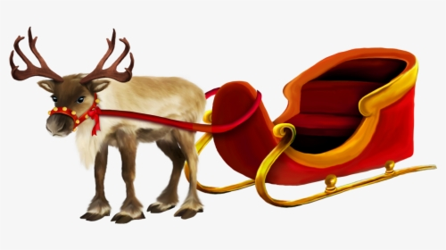 Santa's sleigh filled with christmas toys and presents.
