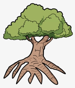 Cartoon Tree With Roots / 1 svg 1 dxf 1 eps 1 png (300dpi).