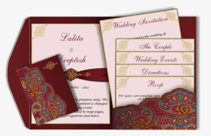 A Red Paisley Style Email Wedding Card Template With
