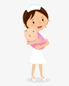 Nurse Clipart Midwife Animated Nurse With Baby Hd Png Download Kindpng