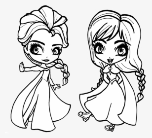 Frozen Elsa Coloring Pages Chibi Baby Elsa And Anna Coloring Pages Hd Png Download Kindpng