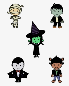 Classic Halloween Monsters Cute Halloween Clipart Black And White Free Hd Png Download Kindpng