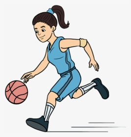 How To Draw A Basketball Player Playing Basketball Drawing Easy Hd Png Download Kindpng