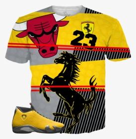 Jordan 14 Yellow Ferrari Shirt Hd Png Download Kindpng